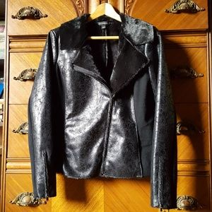 Rock & republic faux leather fur moto jacket Vegan